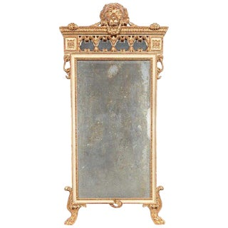 18th Century Italian Giltwood Neoclassic Standing Lion Motif Mirror For Sale