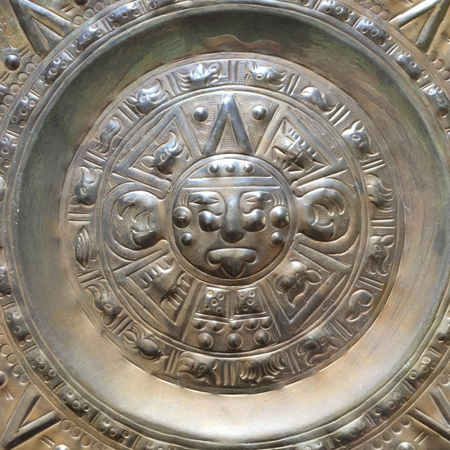 Vintage Solid Brass Mayan Tray For Sale - Image 4 of 10