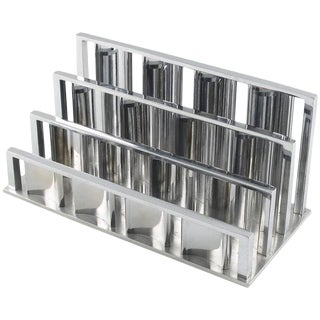 French Jacques Adnet Art Deco Modernist Chrome Desk Accessory Letter Holder For Sale
