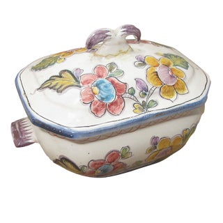 Vintage Portuguese Coimbra Pottery Tureen For Sale
