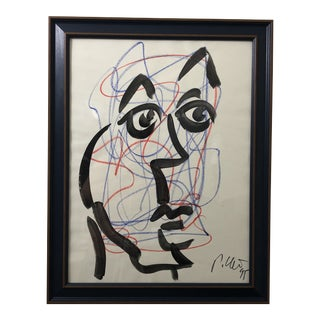 "1990's ""Blue Face"" Painting by Peter Keil For Sale"