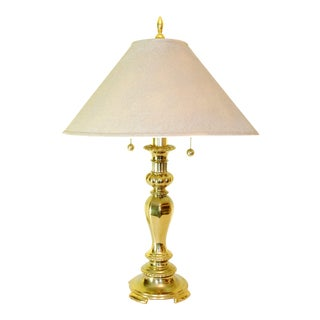 Solid Brass Dual Light Table Lamp with Shade