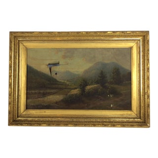 Hudson River Early American 19th Century Painting With Original Gilt Wood