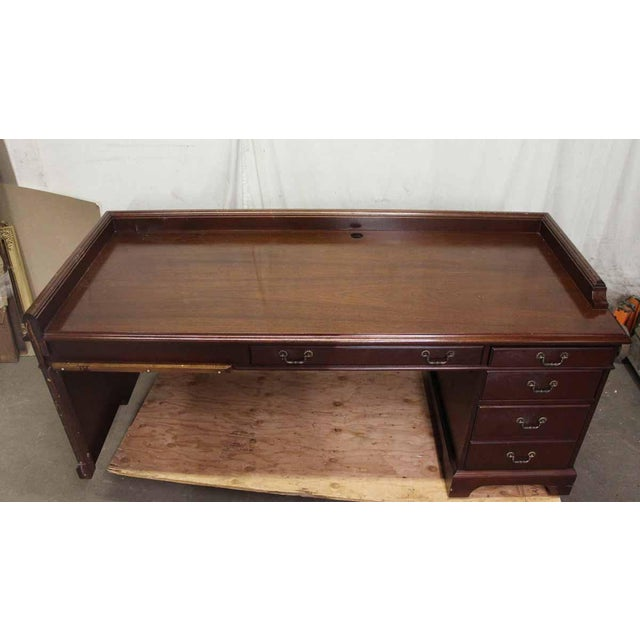 20th Century Traditional Wooden Counter Executive Desk For Sale - Image 4 of 11