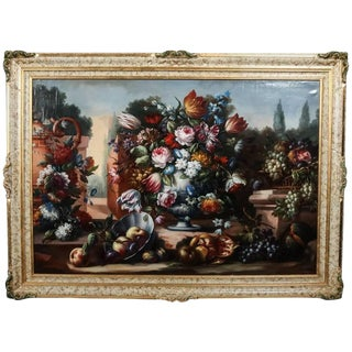 Monumental Fruit and Floral Still Life Oil on Canvas Painting, Signed 1934 For Sale