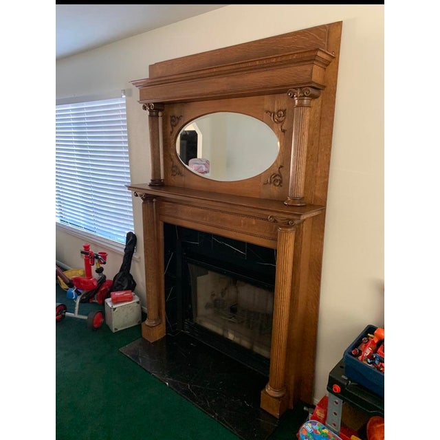 Victorian Antique Victorian Wooden Fireplace Mantel For Sale - Image 3 of 6