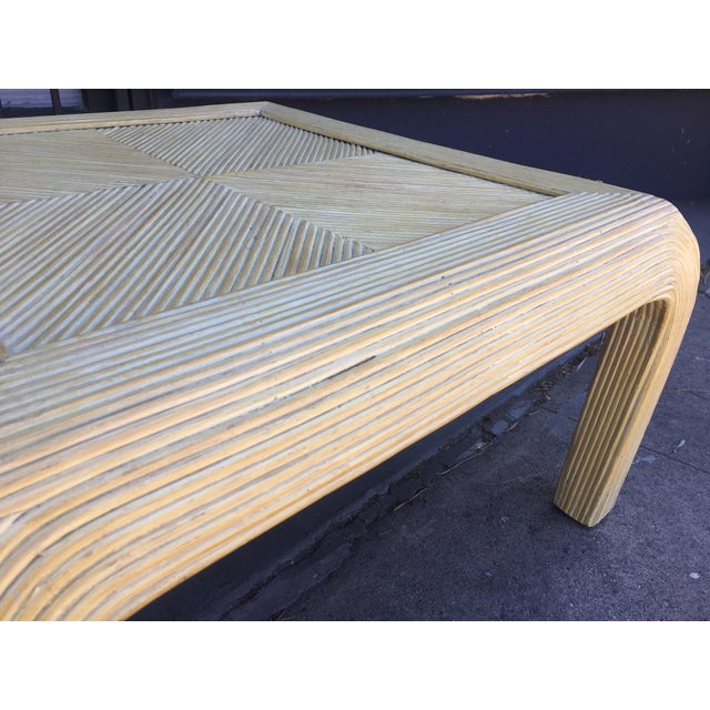 1980s Gabriela Crespi Style Pencil Rattan Square Coffee Table For Sale - Image 5 of 9