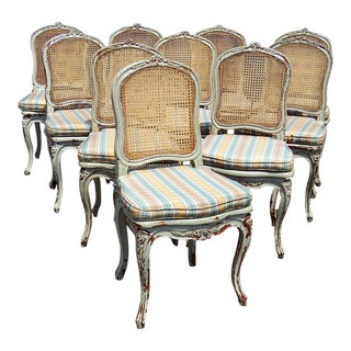 20th Century Louis XV Style Dining Side Chairs - Set of 10 For Sale