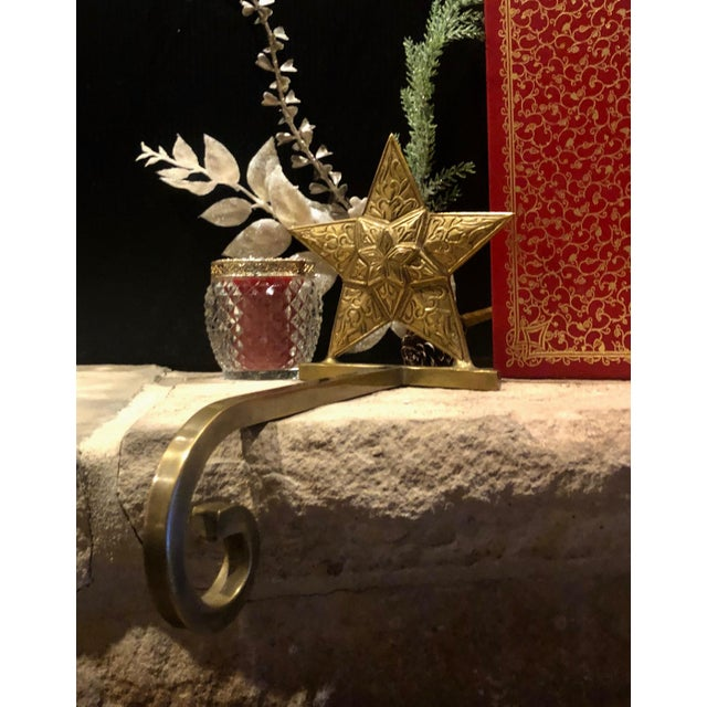 Metal Vintage Antiqued Brass Stocking Hangers Tree & Star - a Pair For Sale - Image 7 of 9