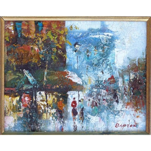 Giltwood Midcentury Modern Paris Street Scene Oil Paintings- a Pair For Sale - Image 7 of 13
