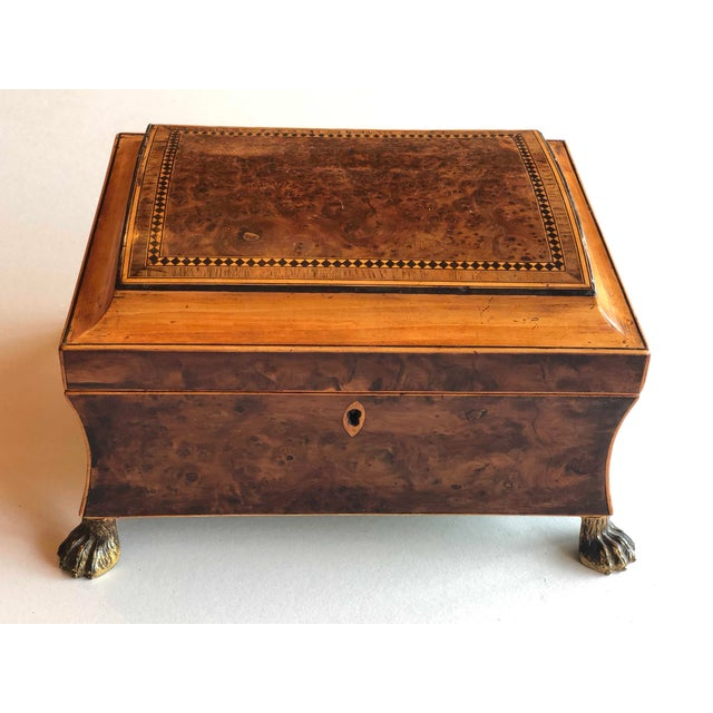 "Regency Burr Yew Table Box Circa 1880 Aqua and Gold Interior 10"" Wide x 8"" Deep x 6"" High"