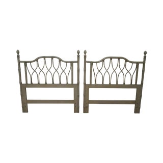 Vintage Faux Bamboo Painted Twin Headboards - a Pair