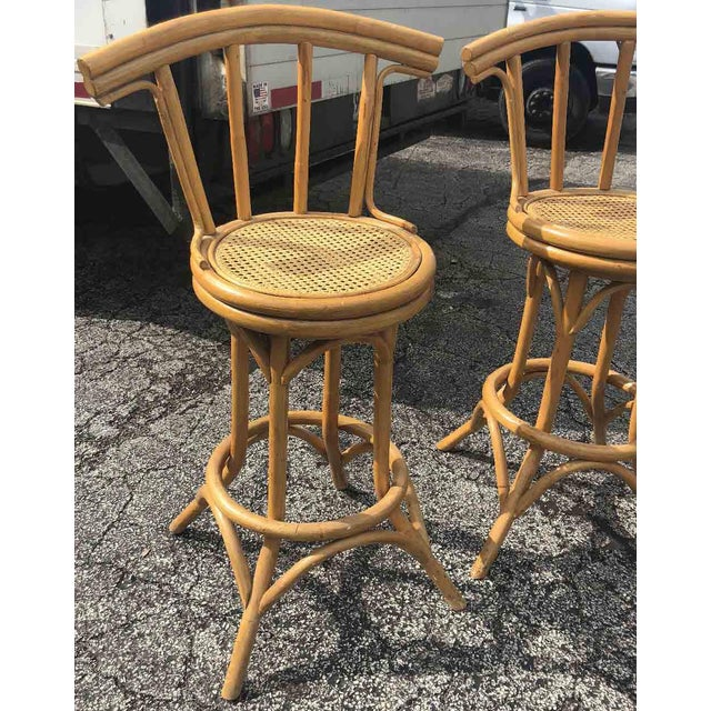 Bamboo Mid-Century Bamboo and Cane Tiki Bar Stools - 5 Pc. Set For Sale - Image 7 of 9