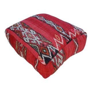 Modern Moroccan K1 Old Hanbal Kilim Pouf / Ottoman For Sale