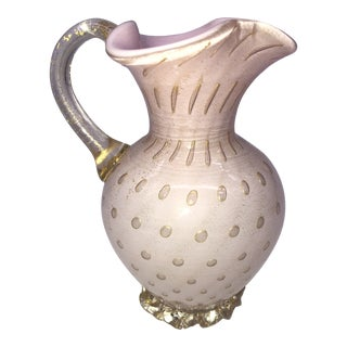 Italian Alfredo Barbini Murano Pink/Gold Pitcher with Controlled Bubbles For Sale