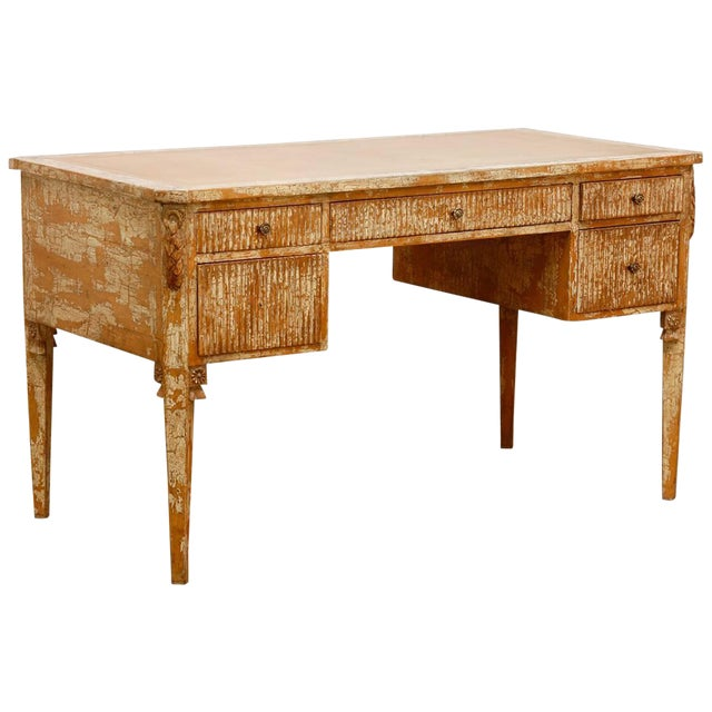 Neoclassical Leather Top Desk With Scraped Lacquer Finish For Sale