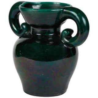 1950s Mid-Century English Green Glazed Vase With Handles For Sale