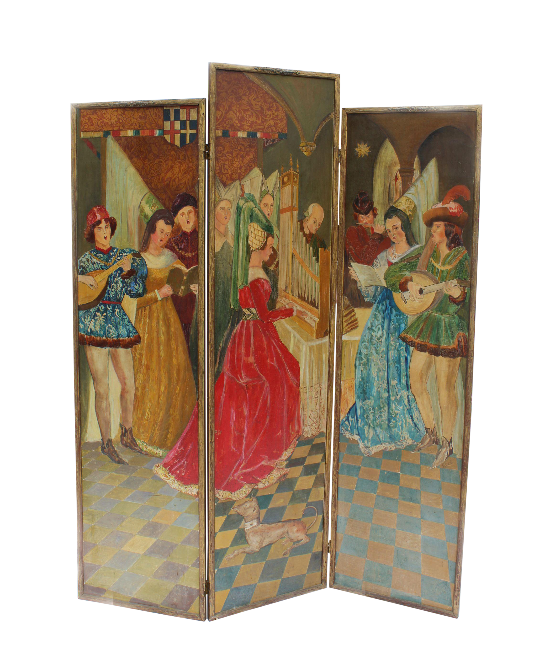 French Antique Painted Screen Chairish