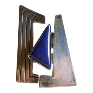 1960's Abstract Modern Sterling Silver + Lapis Lazuli Ring For Sale
