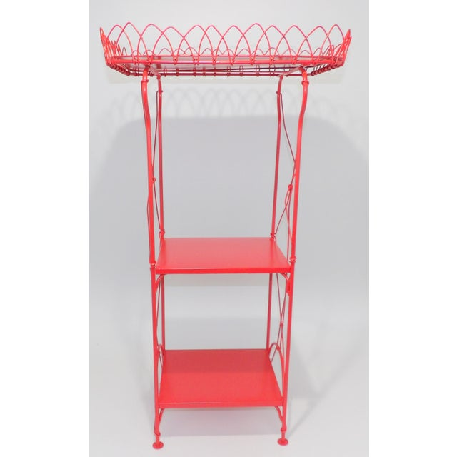 1980s French Country Farmhouse Red Metal Shelf For Sale - Image 5 of 8