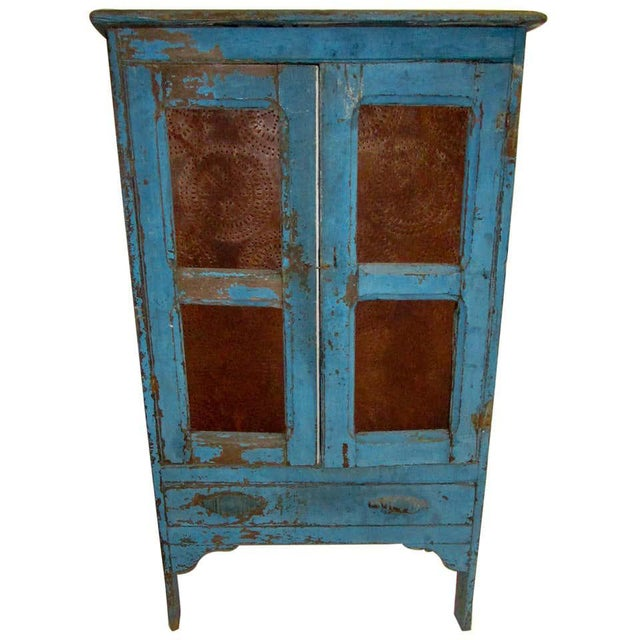 19th Century American Primitive Southern Pie Safe With Distressed Blue Paint For Sale - Image 13 of 13