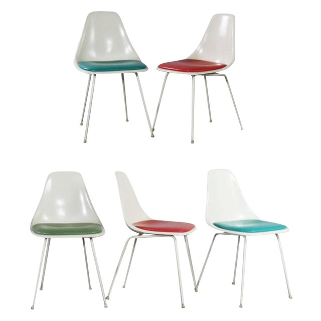 Burke Fiberglass #103 Shell Chairs With Padded Seats Set of 5 Mid Century Modern For Sale