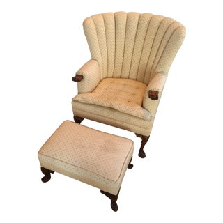 Vintage Mid Century Wingback Chair & Ottoman For Sale