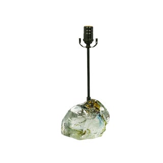 Amber Sea Green & Clear Cullet Glass Rock Lamp For Sale