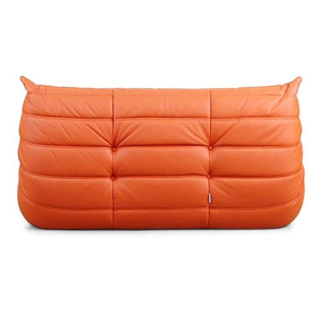 Togo Loveseat in Orange Leather by Michel Ducaroy for Ligne Roset, France For Sale In Los Angeles - Image 6 of 13