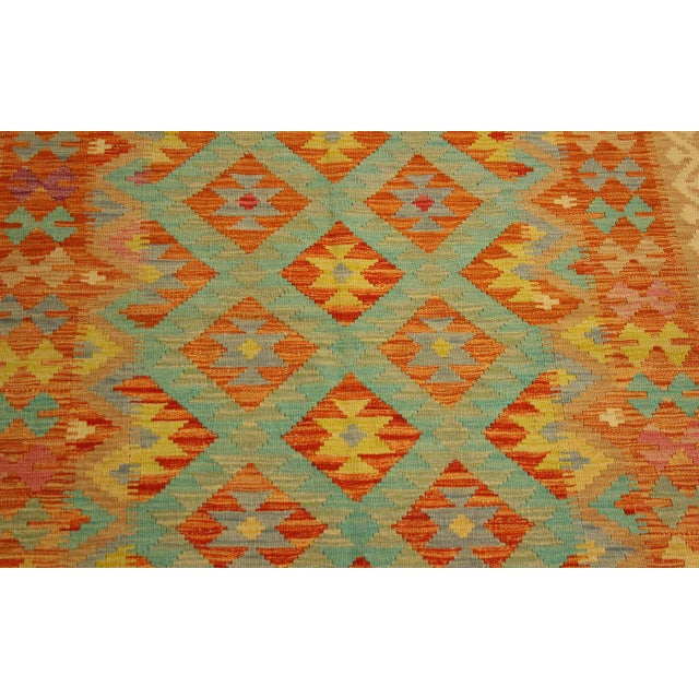 Era Red/Green Hand-Woven Kilim Wool Rug -4'3 X 5'10 For Sale In New York - Image 6 of 8