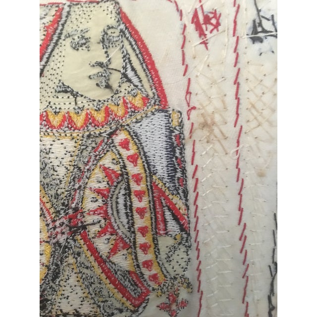 Highly detailed embroidered and sequined. A bit surreal, looks real from a distance. Lays flat, quite large. May have been...
