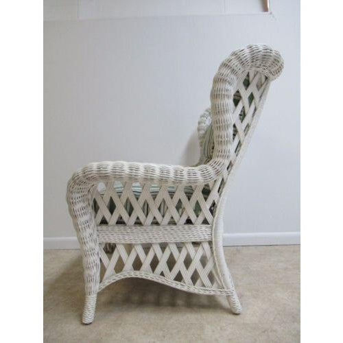 Vintage Custom Wicker Patio Porch Living Room Lounge Chair For Sale - Image 9 of 13