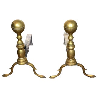 Early 1800s American Brass Andirons - a Pair For Sale