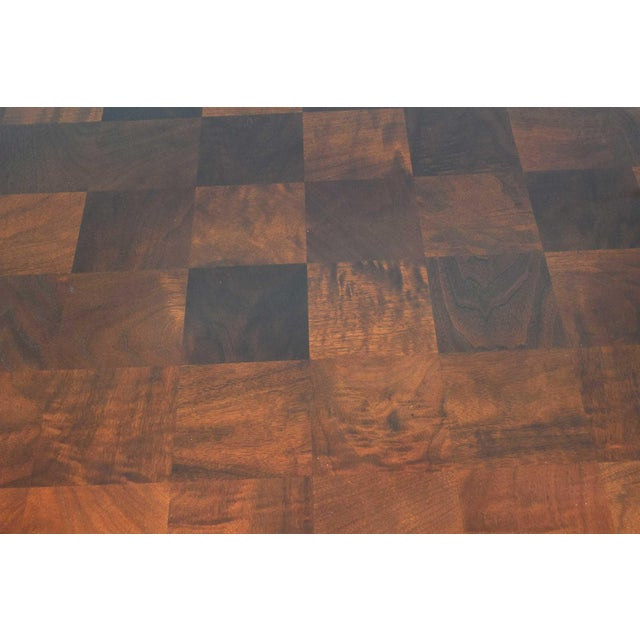 Wood Milo Baughman Burl Wood Parquet Card or Dining Table For Sale - Image 7 of 13