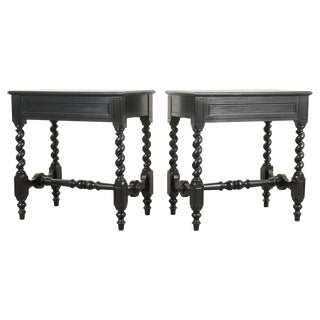 French Louis XIII-Style Ebonized Side Tables - a Pair For Sale