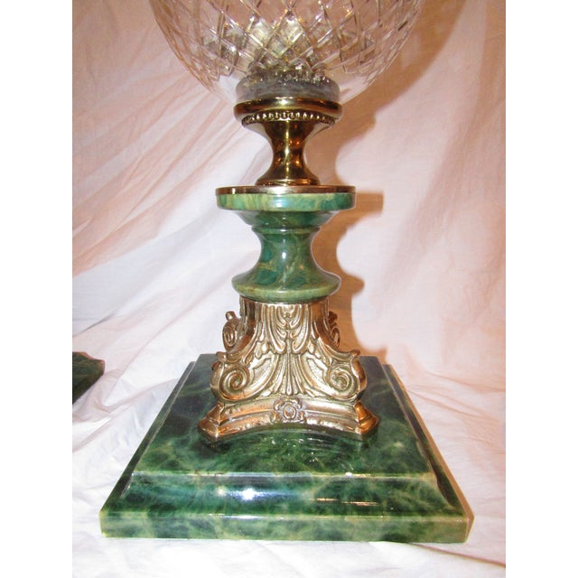 Traditional 1990s Transitional Cut Glass Hurricane Lamps - a Pair For Sale - Image 3 of 7
