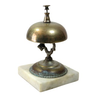 Antique Brass & Marble Front Desk Bell For Sale