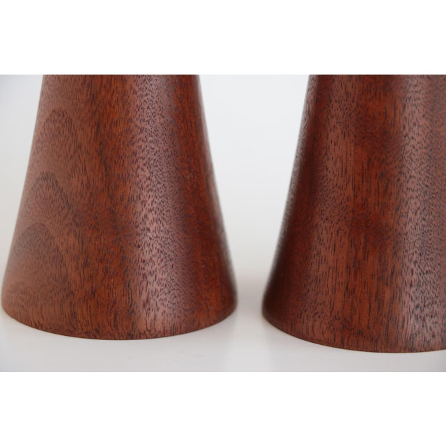 Mid-Century Turned Walnut Wood Candlesticks - A Pair For Sale - Image 4 of 9