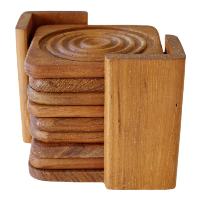 Danish Modern Dolphin Teak Coasters With Caddy- Set of 8 - Image 1 of 4