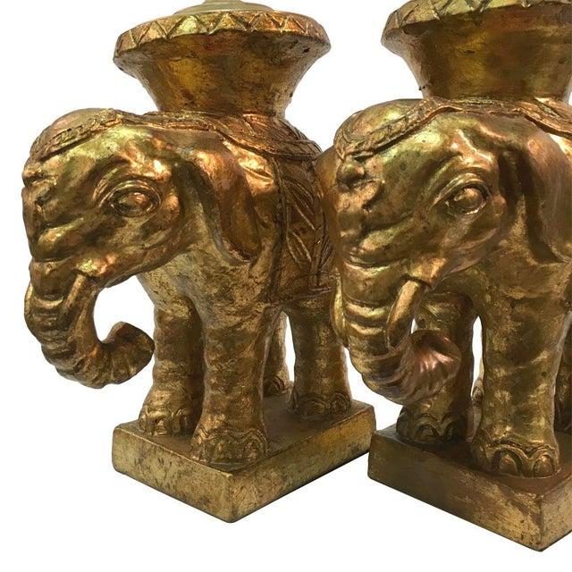 Italian Gilded Ceramic Elephant Lamps - Pair - Image 4 of 8