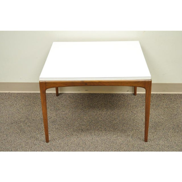 Vintage Mid Century Modern Walnut & Laminate Square Coffee Table Danish Style For Sale - Image 10 of 11