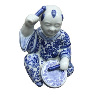 1970's Chinoiserie Blue and White Porcelain Sculpture Baby Buddha With Drum For Sale