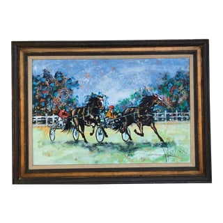 Original Vintage Painting Horse Pacers Trotters W/Sulky For Sale