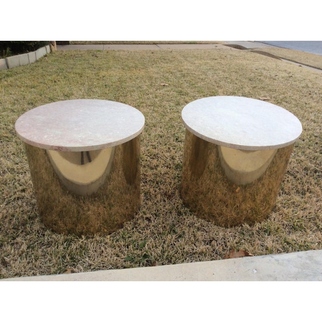 1970s 1970s Italian Paul Mayen Travertine Top Minimalist Cylinder Tables - a Pair For Sale - Image 5 of 9