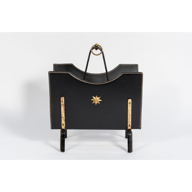 1950s Stitched Leather Magazine Rack by Jacques Adnet For Sale - Image 5 of 8