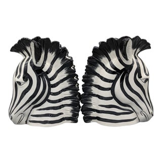 Fitz and Floyd Zebra Vase Bookends - a Pair For Sale
