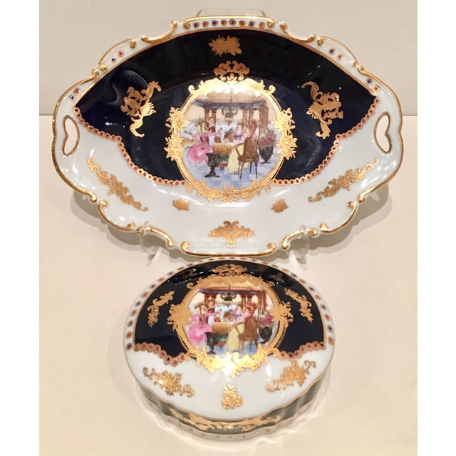 20th C. French Sevres Limoges Style Cobalt & Gold Tray & Box - Image 11 of 11