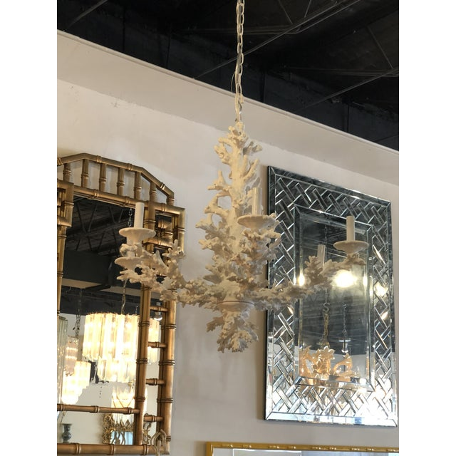 White Vintage Palm Beach Tropical White Faux Coral 6 Light Chandelier For Sale - Image 8 of 11