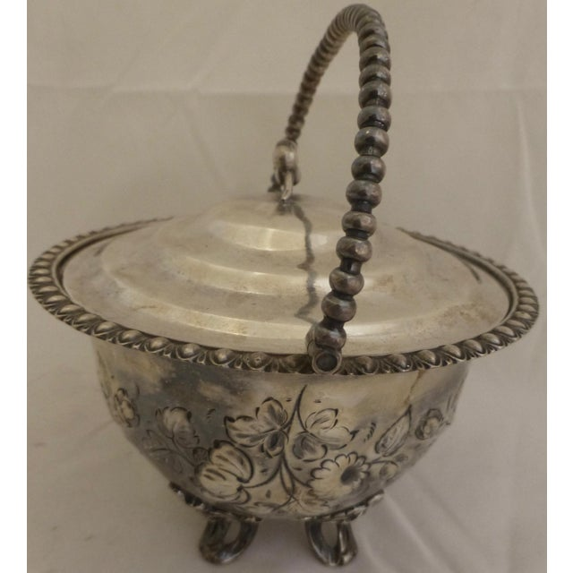 Art Nouveau Silver Plated Covered Bowl w. Floral Decoration For Sale - Image 5 of 13