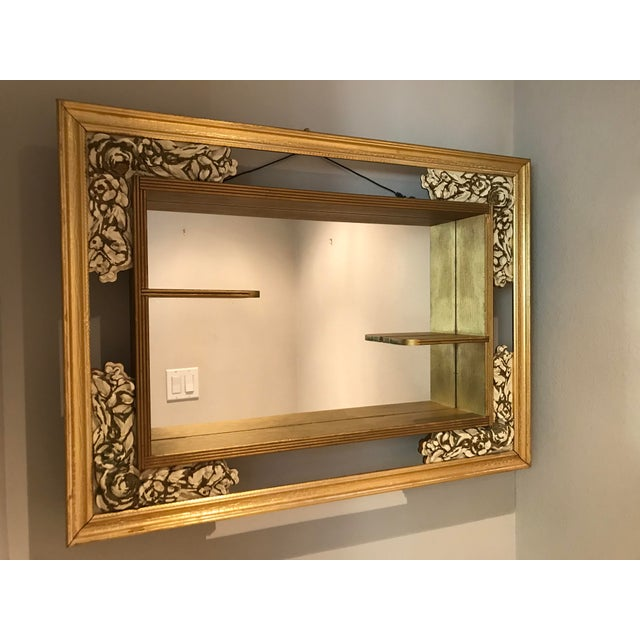 Mid-Century Modern Gilded Shadow Box Mirror With Carved Roses For Sale - Image 9 of 9
